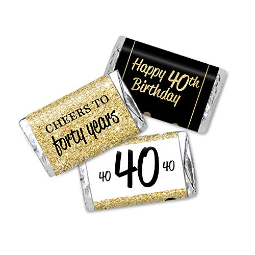 (40th Birthday Favor Stickers, Miniatures Candy Bar Wrapper Labels, Gold Glitter and Black, 54 Total)
