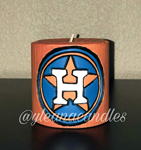 Houston Astros - Hand Carved Candle - Handmade Decorative Sculpture - Gentle colors - EveCandles - Birthday Gifts - Special Occasion ()