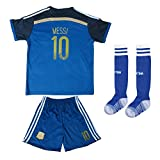 FWC 2014 Lionel Messi 10 Argentina Away Futbol Football Soccer Jersey & Short WITH SOCKS (6-7 YEARS)