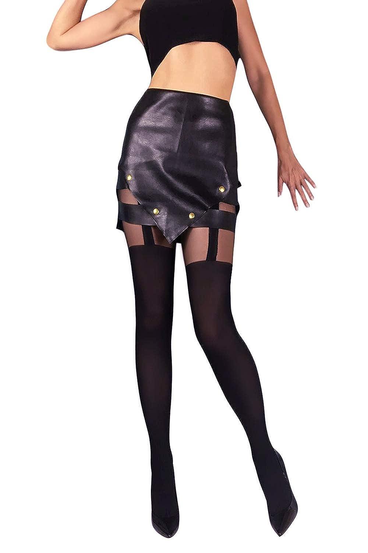 c0e4eb7ba3e9c Black Faux Garter Tights Imitating Stockings S M L Opaque Hosiery Made in EU