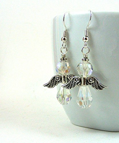 (Angel Earrings with AB Finish Crystal Beads Sterling Silver Ear Wires)