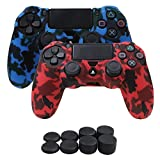 Cheap YoRHa Water Transfer Printing Camouflage Silicone Cover Skin Case for Sony PS4/slim/Pro controller x 2(red+blue With Pro thumb grips x 8