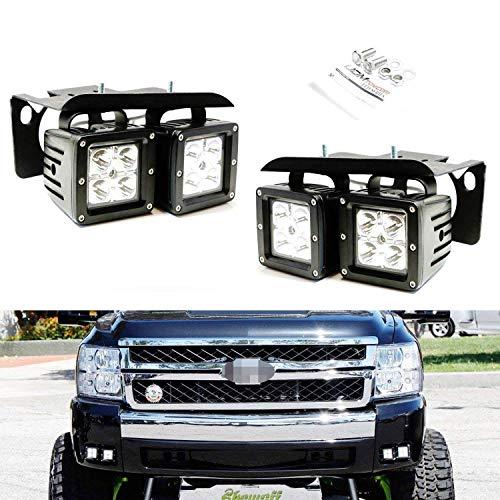 iJDMTOY LED Pod Light Fog Lamp Kit For 2007-14 Chevy Silverado 1500 2500 3500 HD, Includes (4) 20W High Power CREE LED Cubes, Foglight Location Mounting Brackets (1500 Light Fog Hd)