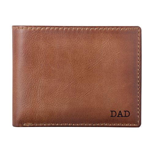 Engraved Leather Wallet - HOJ Co. Classic DAD Men's BIFOLD Wallet-Double Bill Compartment-Personalized Wallet-Full Grain Leather