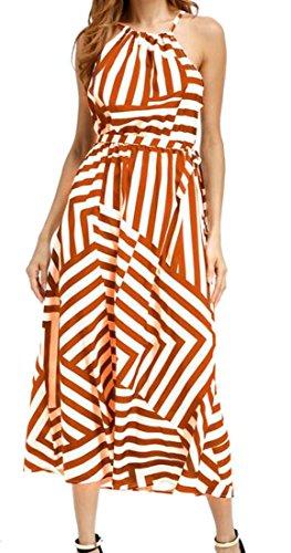 Cromoncent Femmes Taille Sans Manches Licol Lâche Empire Grand Robes Tunique Orange, Ourlet