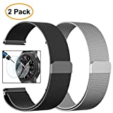 Gear S3 Classic/Frontier Watch Bands, Valkit 22mm Milanese Loop Mesh Wrist Band Metal Stainless Steel Replacement Strap Magnet + Tempered Glass for Samsung Gear S3 Frontier/Classic Sports Smart Watch