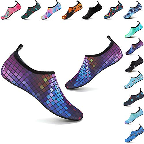 welltree Womens Mens Water Shoes Barefoot Aqua Socks for Outdoor Beach Swim Yoga Exercise Colorful Square 36/37