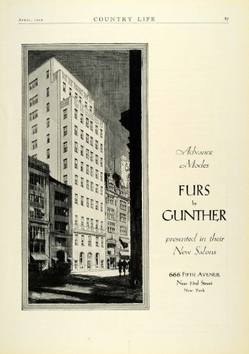 1929 Ad Gunther Fur Fashion Clothing 666 Fifth Avenue New York Retail Store - Original Print Ad from PeriodPaper LLC-Collectible Original Print Archive