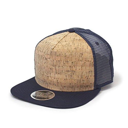 Cork Square Cotton Flat Visor Mesh/Denim Adjustable Snapback Baseball Caps (Navy)