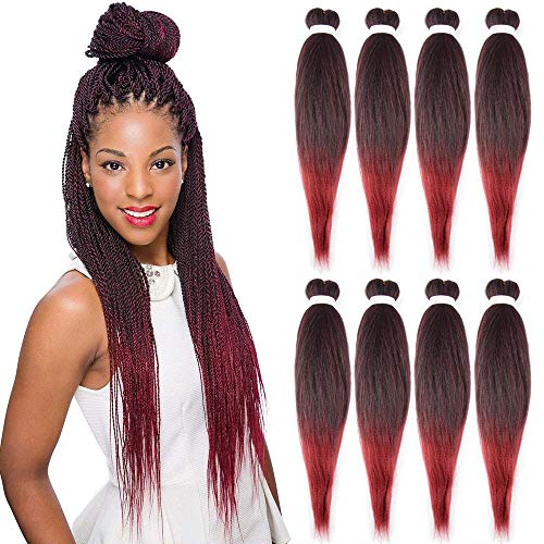 (Pre Stretched Braiding Hair 26inch 8 Packs/Lot Professional Itch Free Hot Water Setting Synthetic Fiber Crochet Braids Braiding Yaki Texture Hair Extension Twist Braid(#1b/bug))