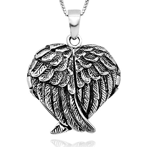 925 Sterling Silver Feather Guardian Angel Wing Heart Shape Locket Pendant Necklace for Women, 18