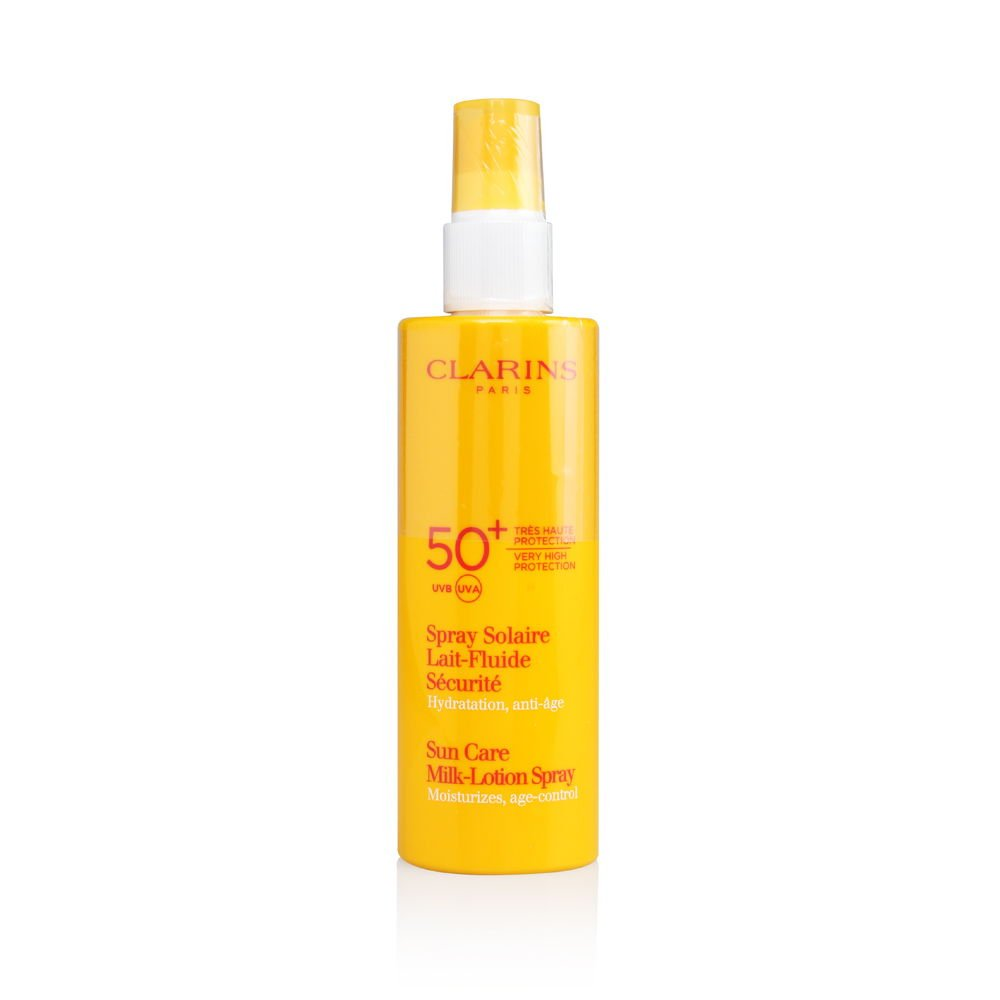 Clarins Sun Care Milk-Lotion Spray Very High Protection UVB/UVA 50+ for Unisex, 5.3 Ounce