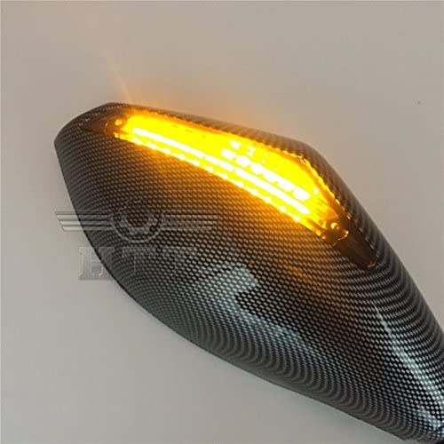 HTT Carbon Turn Signal Mirrors with Smoke Lens Fit For Suzuki GSXR 600 700// Honda CBR 600 900// Yamaha YZF R6 R6S Triumph Daytona