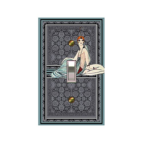 Mrs Butler Art Deco Erte Woman Sitting Switchplate 0140A-T1