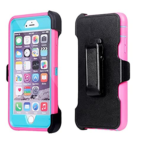 For iPhone 6Plus, Chanroy Hybrid Rubber Plastic Impact Defender Case ,iPhone 6Plus /6S Plus (5.5 inch)Protective Case, Screen Protector Built-in ,With Belt Clip (Pink+Teal)