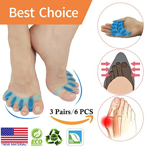 Bunion Corrector, Toe Separator, Bunion Relief Protectors *New Material* Gel & Silicone Hammer Toe Straightener, Toe Spacers, Toe Stretchers, for Men and Women, Fight Bunions, Hammer Toes & ()