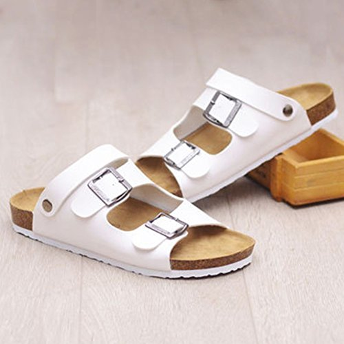 Unisex Adults' Classic Ankle Strap Sandals - Summer Flip Flops Slippers White mdxed7Hpx