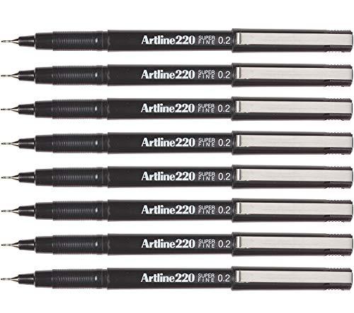 Artline Fineliner sketch artist pens, extra fine point 0.2mm - 8 Count (Black, Extra Fine 0.2mm)