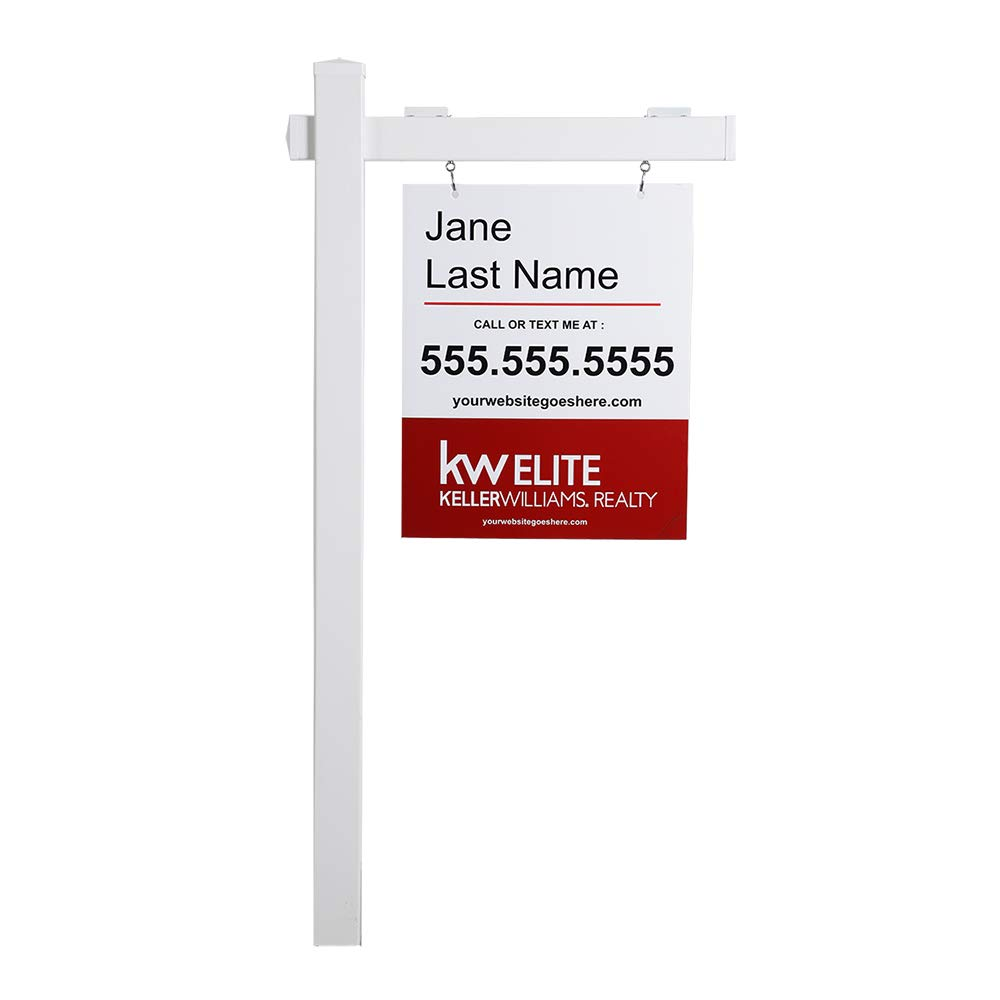 kdgarden Vinyl PVC Real Estate Sign Post 6ft. Tall (4''x 4''x 72'') Realtor Yard Sign Post for Open House and Home for Sale, 36'' Arm Holds Up to 24'' Sign, White with Flat Cap(No Sign) by kdgarden (Image #2)