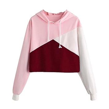 VENMO Damen Sweatshirt Patchwork Pulli Langarmshirt Hoodie Pullover  Laternenhülse Lange Kapuzenjacke Langarm Tuniken T-Shirt dee76e4d54