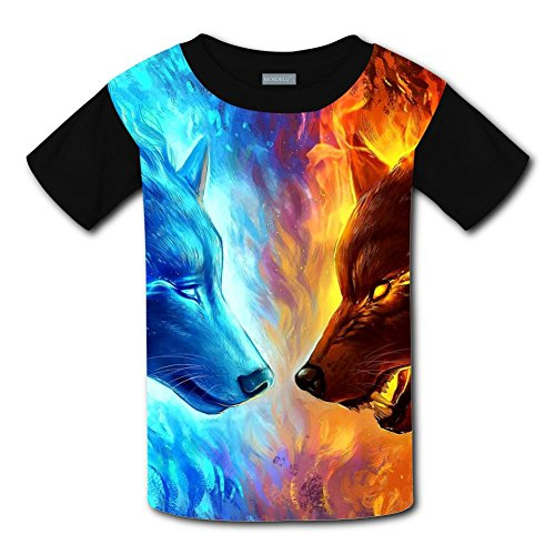 Kids Fashion Cosmic Wolf 3D Print T-Shirts Short Sleeve Tees