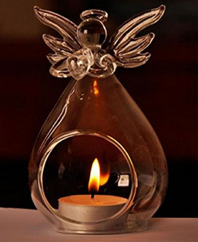 - Clear Candlestick Holder Angel Crystal Glass Home Decoration Hanging Tealight Candle Holder