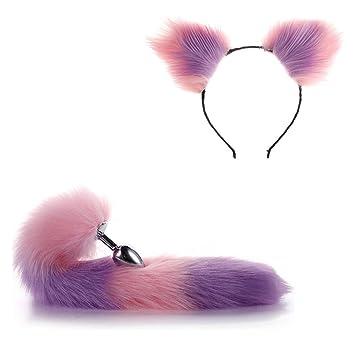 fd678b833de Amazon.com  2pcs Women Faux Fur Cat Ears Headband Fox Tail Set Halloween  Xmas Cosplay Costume  Beauty