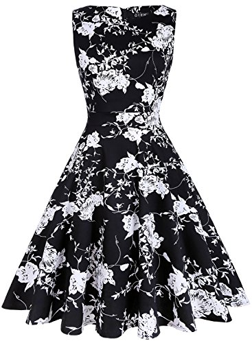 OTEN Women's Floral Print Wedding Party Prom Cocktail Vintage Dresses 1950s