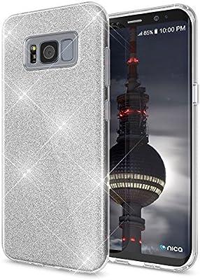 Coovertify Funda Purpurina Brillante Plateada Samsung S8, Carcasa ...