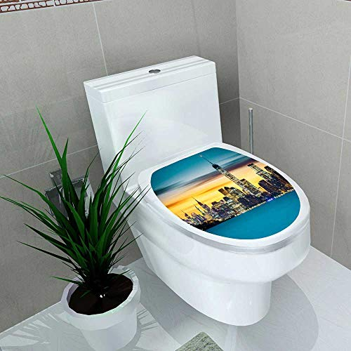 Toilet Sticker Sunrise Over New York City Home Decor Applique Papers W13 x L16 (Best Violin Shop In New York)