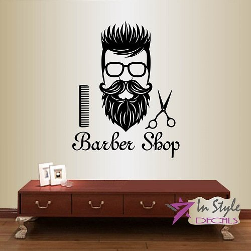 Wall Vinyl Decal Home Decor Art Sticker Barber Shop Man Hair Hairdresser Hairstyle Scissors Barbers Hairdo Haircut Mustache Beard Glasses Room Removable Stylish Mural Unique - Mens Glasses Hairstyles