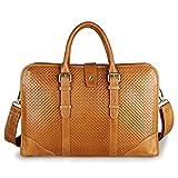 Clean Vintage Women's Office Bag Messenger Men's Satchel Vintage Leather Bag- Fits 15'' Laptops (Yellowish Brown)