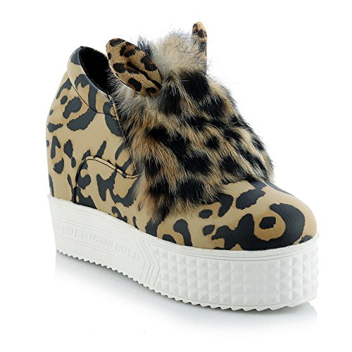 BalaMasa da donna in tessuto a punta rotonda imitato in pelle pumps-shoes, (Leopard), 35
