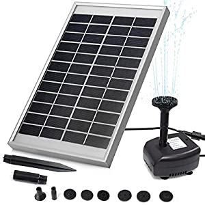 POWEREZ 5W Outdoor Solar Water Pump Kits  Garden Water Pump for Courtyard,Maximum Flow 380L/h With 5W Solar Panle and Mounting