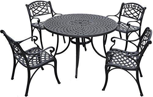Crosley Furniture KOD6001BK Sedona 5-Piece Solid-Cast Aluminum Outdoor Dining Set with 48-inch Table and 4 Arm Chairs, Black ()