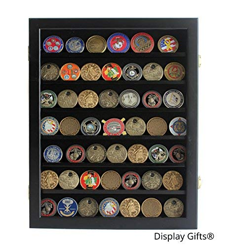 Military Challenge Coin / Poker Chip Display Case Cabinet Rack Shadow Box Wood, (COIN46-BL) ()
