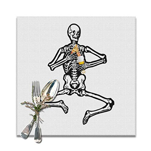 Codruy Placemats Set of 6 for Dining TablePizza and Beer Skeleton Ribcage Halloween Washable Placemat Non-Slip Heat Resistant Kitchen Table Mats Easy to Clean 12