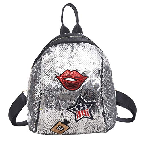 - Women Sequins Backpack Personality Creative Star Bag Student Magic Glitter Backpack Lightweight Travel Tote Bag SIN+MON