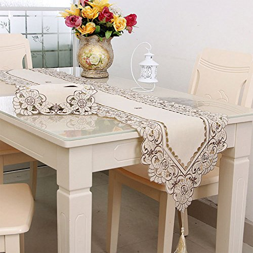 Waterproof Openwork Embroidery Table Runner Table Cloth Trade Pastoral Coffee Hom Decoration Wedding Elegant gold.