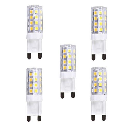 wulun 5-Pack G9 4 W cápsula bombilla LED luz blanca cálida 3000 K 220