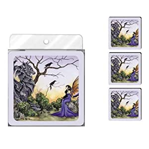 Tree-Free Greetings NC37575 Amy Brown Fantasy4-Pack Artful Coaster Set, The Stone Guardian and Fairy