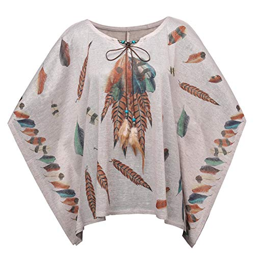 Fancyluna Women's Bohemian Batwing Sleeve Printed Tunic Tops Bohemian Blouse Cover up Poncho (Free, Grey Feather)
