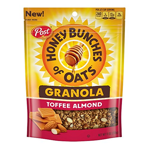 Post Honey Bunches of Oats Honey Roasted Granola, Toffee Almond, 11 Ounce, 6 Count