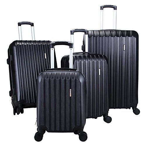 4Pcs Black Color Luggage Set Bag Travel Spinner Carry On Suitcase TSA Lock ABS Trolley