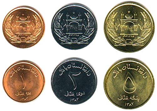 Afghanistan 3 Coin Set 2004 Islamic Republic UNC 1-5 AFGHANIS. Collectible Coins for Your Coin Album, Coin Holders OR Coin Collection