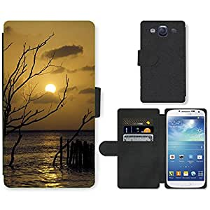 Super Stella Cell Phone Card Slot PU Leather Wallet Case // M00421920 Sunset Cloud Branches Sea Nature // Samsung Galaxy S3 S III SIII i9300