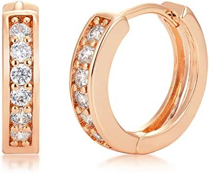 CZ Hoop Huggie Earrings - Silver Plated or Yellow Gold Plated with Brilliant Round CZ Stones - By Kezef Creations