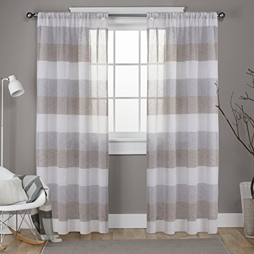 Drapes Stripes Silk Drapery (Exclusive Home Bern Stripe Sheer Window Curtain Panel Pair with Rod Pocket, Café, 54x96, 2 Piece)