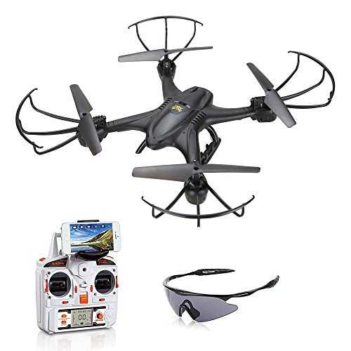Holy Stone X400C FPV RC Quadcopter Drone with WiFi Camera Live Video One Key Return Function Headless Mode 2.4GHz 4 Channel 6 Axis Gyro RTF Left and Right Hand Mode Bundle with Goggles from VOOCO