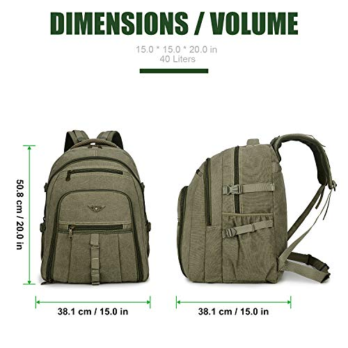 07833d2d4103 JINLINGDI Outdoor Travel Canvas Backpack Hiking Camping Rucksack Canvas  Laptop Daypack for Men and Women
